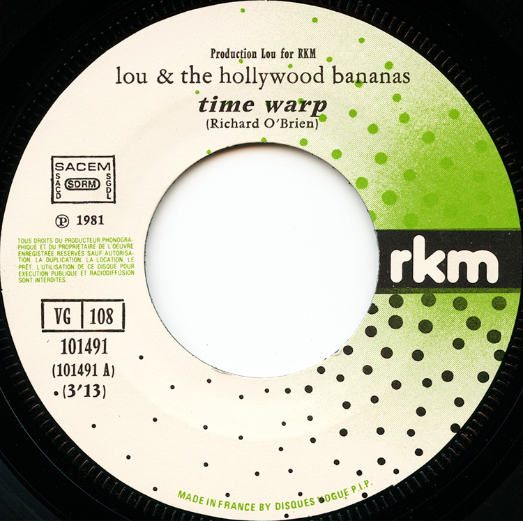 "Lou & The Hollywood Bananas ""Time Warp"" 7"" Single (Disc Label Side One)"