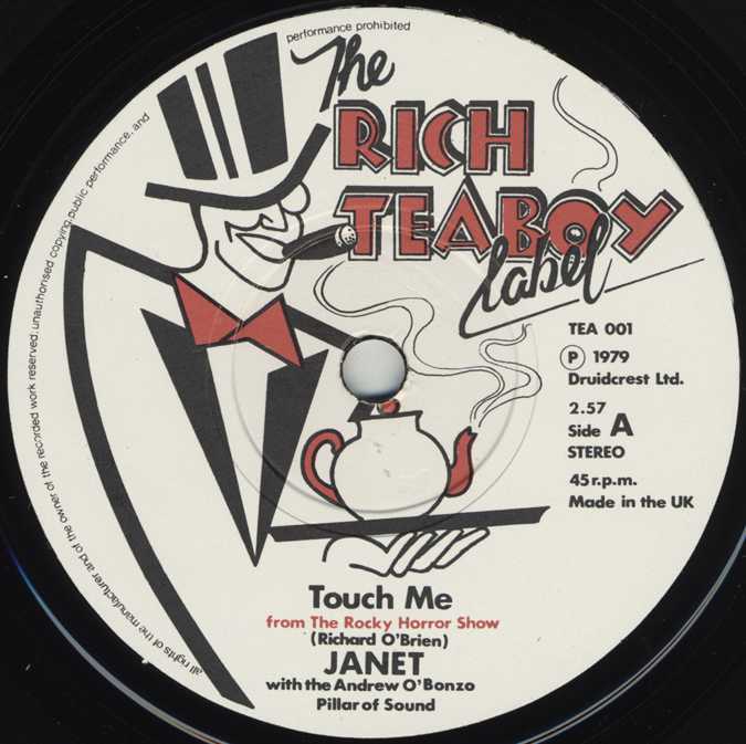"Belinda Sinclair ""Touch Me"" 7"" Single, Rich Teaboy Reissue (Disc Label Side One)"