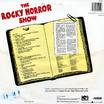 Rocky Horror Show, 1973 London Cast LP, Dojo Records (Back Cover)