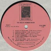 Rocky Horror Show, 1974 Australian Cast LP, Elephant Records (Disc Label Side Two)