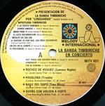 "Timbiriche ""La Banda Timbiriche: En Concierto"" LP (Disc Label Front)"